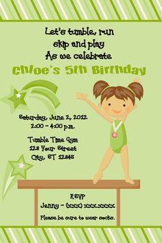 Gymnastics Birthday Invitations - Green-I had a gymnastics birthday and so will my daughter