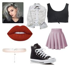 """""""Untitled #15"""" by pvris1601 on Polyvore featuring Beth Richards, Versace, Converse, Lime Crime and New Look"""