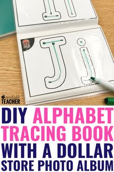 Alphabet Tracing Book Make this super easy DIY alphabet tracing book with free printables and dollar store photo albums. These cards have uppercase, and lower [. Preschool Writing, Preschool Letters, Preschool Learning Activities, Free Preschool, Alphabet Activities, Preschool Printables Free Worksheets, Alphabet Books, Alphabet Tracing Worksheets, Letter Tracing