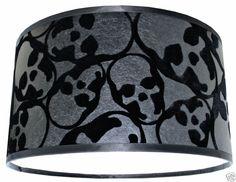 Barbara Hulanicki Flocked Skulls Wallpaper Lampshade Black on Black
