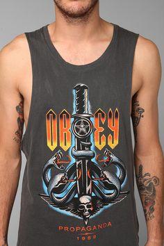 OBEY Serpents Raw-Edge Tank Top