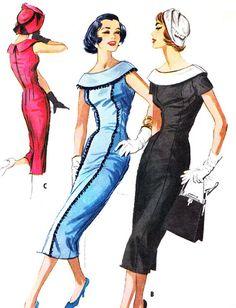 1950s Evening Dress Pattern McCalls 4145 Cape Collar Princess Seam Sheath or Wiggle Dress Womens Vintage Sewing Pattern Bust 36
