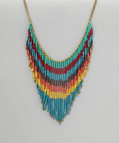 Loving this ZAD Turquoise & Orange Bead Fringe Necklace on #zulily! #zulilyfinds