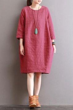 Retro Silhouette Flocking Cotton Dresses For Women
