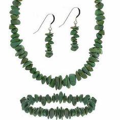 Sterling Silver Green Turquoise Stone Chip Jewelry Set SilverSpeck. $19.99. Earring back: fish hook. Necklace: 9 mm (W), 15-18 in (L), Weight: 20.2 gr. Bracelet: 9 mm (W), 7 in (L), Weight: 10.1 gr. Earrings: 37 mm (H), 9 mm (W), Weight per earring: 1.2 gr