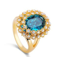 fashion champagne and blue austrian crystal flower cocktail ring
