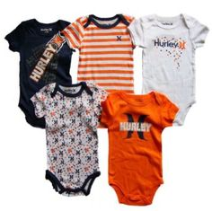 Hurley Baby Boys 5 Pc Short Sleeve Bodysuits, Navy Blue/Orange (6-9 Mos) Hurley. $39.99