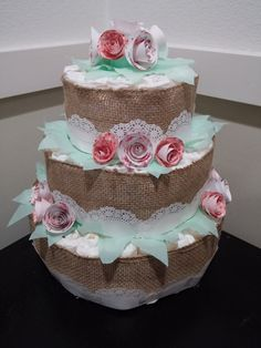 3 tier Shabby Chic diaper cake by KReativeKRaftsbyKat on Etsy Tea Party Decorations, Fall Baby, Baby Makes, Girl Shower, Baby Crafts, Event Decor, Glen Echo, Shabby Chic, Diaper Cakes