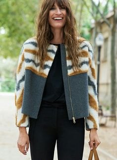 Two tone boxy jacket with contrast fur shoulders and sleeves [caroline de maigret]