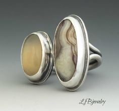 Silver Ring, Statement Ring, Double Sided Ring, Moonstone, Crazy Lace Agate, Metalsmith, Metalwork, Handmade, Art Jewelry, Artisan Jewelry by LjBjewelry on Etsy