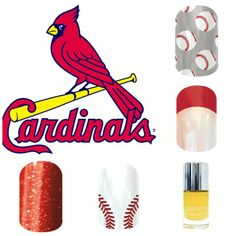 St Louis Cardinals Jamberry Sport Themed Nails www.thetrendynails.jamberrynails.net