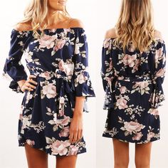 83420a2b3c7f Women Dress 2018 Summer Sexy Off Shoulder Floral Print Chiffon Dress Boho  Style Short Party Beach Dresses Vestidos de fiesta