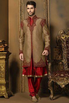 Antique #gold & #red raw silk & jute #silk bandh gala bewitching…
