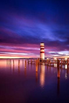 Lighthouse at Lake Neusiedler See, Austria Beautiful Sky, Beautiful Pictures, Simply Beautiful, Places Around The World, Around The Worlds, Thing 1, Purple Sky, Panama City Beach, I Want To Travel