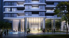 Residential Building Design, Residential Architect, Futuristic Architecture, Architecture Design, Vertical City, Condo Design, Entrance Design, Luxury Condo, Building Facade