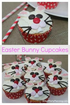 Easter bunny cupcakes are incredibly easy to make and they look fantastic. Follow this simple step by step tutorial to learn how to make these cheeky bunny cupcakes with the kids. With marshmallow bunny ears, they are not only adorable to look at but delicious to eat. They are perfect for every Easter celebration. So fun! Easter Bunny Cupcakes, Cute Easter Bunny, Cute Cupcakes, Cupcake Cookies, Candy Recipes, Cookie Recipes, Easter Recipes, Easter Ideas, Easter Desserts