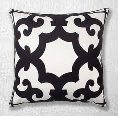 Decorative pillows are instant makeover to your room, and a bold black and white pattern is a stylish foundation to complement other color schemes. $69.95 #zgallerie