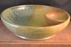 Handmade Ceramic Chip and Dip Serving Bowl- Antique Blue and Redwood #pottery #clay #kitchen