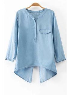 Back Slit Stand Neck 3/4 Sleeve Denim Blouse LIGHT BLUE: Blouses | ZAFUL