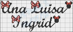 Querida Carina infelizmente não encontrei o nome carolina, mas encontrei estes espero que ajude, qualquer coisa é so falar..     Quero tamb... Alfabeto Disney, C2c, Cross Stitch, Samara, Cross Stitch Love, Cross Stitch Letters, Embroidery Stitches, Crochet Ornaments, Decorating Candles