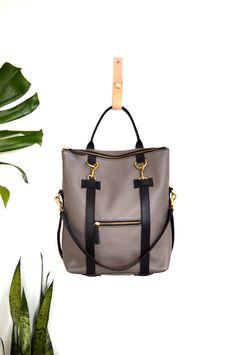 3-in-1 Leather Backpack Taupe Grey Convertible Backpack Laptop Bag Shoulder Bag Tote Bag Mabel Pack by ARTandJILL on Etsy https://www.etsy.com/listing/239028948/3-in-1-leather-backpack-taupe-grey