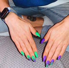 nail nail aesthetic Tags nail fall nail spring nail 2020 nail design nail winter nail 2019 tendencia nail simple nail sencillas Purple and light blue nails - ChicLadies Nail Polish, Nail Nail, Swag Nails, My Nails, Grunge Nails, Ongles Or Rose, Light Blue Nails, Fire Nails, Best Acrylic Nails