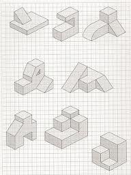 perspectiva axonométrica Graph Paper Drawings, Graph Paper Art, Geometric Drawing, Geometric Art, Interesting Drawings, Cool Drawings, Isometric Sketch, Isometric Drawing Exercises, Orthographic Drawing