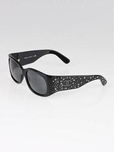 740d0d22ece Chanel Black Frame Crystal CC Logo Sunglasses-5134