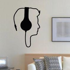 DJ Headphones Music Inspirational Vinyl Wall Art Decal Sticker