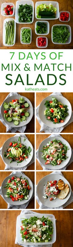 Keep produce fresher longer so you can eat crisp salads all week long! Here's how to prep for a week's worth of mix & match salads that don't turn rotten or go limp by the end of the week. #healthylunch #salad #healthyrecipes #makeaheadrecipes