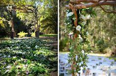 Enchanted Garden Wedding - Rainforest Wedding - Outdoor Wedding - Whimsical Wedding - Fairytale Wedding - Garden Ceremony - Rustic Wedding - Fairylights - Hanging Candles - Wedding Lighting  Sugar & Spice Events - Gold Coast Wedding Decorator