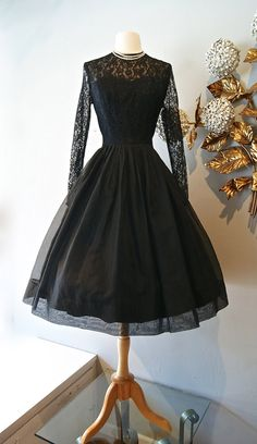 1950's Black Lace Cocktail Dress With Illusion Full Skirt