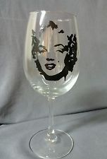 Hand painted Marilyn Monroe Wine Glass Gift Collector Sexy Present