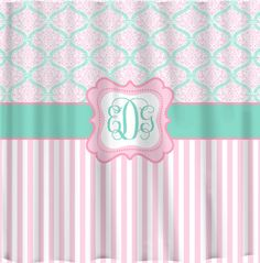 Custom Personalized Dream Damask & Striped Shower Curtain - your colors Girl Bathrooms, Striped Shower Curtains, Personalized Gifts, Handmade Gifts, Girl Room, Damask, Custom Homes, Valance Curtains, Home Improvement