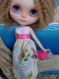 BLYTHE or Pullip Doll Dress - OOAK - Vintage Linen hand embroidered rosebuds & crochet edge by LittleLovelieShop on Etsy