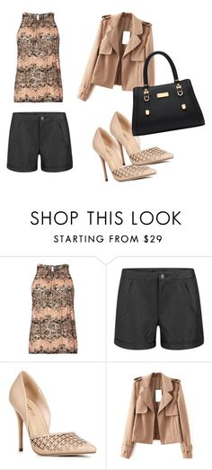 """""""nude"""" by sarah-ann-0 ❤ liked on Polyvore featuring Izabel London, VILA and JustFab"""