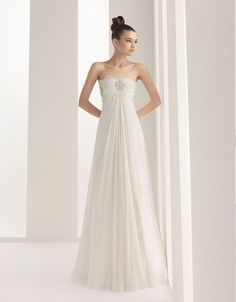 Strapless A-line chiffon bridal gown