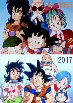 Bulma, Goku, Roshi, Yamcha, Puar, and Oolong