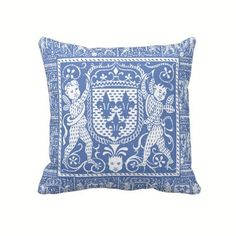 French Medieval Blue and White Fleur de Lys Pillow - Pre Renaissance Design