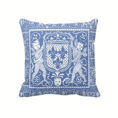 French Medieval Blue and White Fleur de Lys Pillow - Pre Renaissance Design