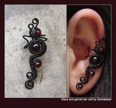 Black and garnet ear cuff #jewelry #Earrings