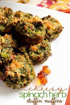 Cheesy Spinach Herb Stuffin' Muffins for Friendsgiving #TasteTheSeason #ad #CollectiveBias