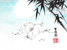 'Cuddle Companions' giclee print available for purchase by Tracie Griffith Tso ©Copyright 2010 Lit by a heavenly moon, rabbits, a symbol of loyalty and gentility, relax beneath a stand of bamboo. Bamboo represents longevity, resilience and flexibility. Ink Paintings, Bunny Rabbits, Japanese Painting, Rice Paper, Cuddle, Loyalty, Heavenly, Giclee Print, Flexibility