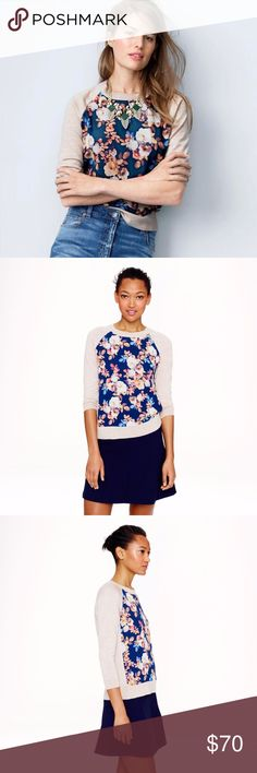 J.CREW Merino Silk Panel Sweater in Antique Floral $148 J.CREW Merino Wool Silk Panel Sweater Top in Antique Floral Size M  Laid-back and luxe at once, this baseball-tee-inspired merino sweater is unexpectedly finished with a digitally printed silk panel at the front. We found the floral at one of our favorite London print houses—and it's one of our favorite prints of the season.  Merino wool in a 14-gauge knit, silk. Three-quarter sleeves. Rib trim at neck and cuffs. Dry clean. Import. J…