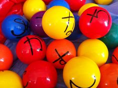 I've created a Hiragana ball pit as one of our Hiragana stations. We have a blow-up pool set up with these colourful plastic balls. One student calls out a Hiragana character and two students compete to find that ball. Great for Hiragana recognition :)
