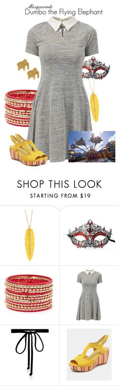 """Masquerade: Dumbo the Flying Elephant"" by jivy44 ❤ liked on Polyvore featuring Masquerade, Cara Couture, Cameo Rose, Joomi Lim, Django & Juliette and Disney"