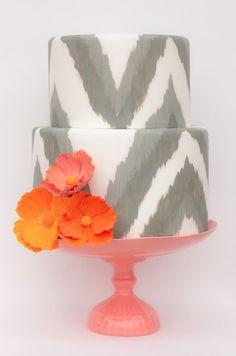 Something different. Chevron wedding cake. Grey print with orange poppies. So gorgeous!