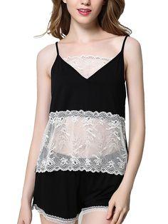 Burvogue Womens Sleeveless Sheer Lace Pajama Set Lingerie Sleepwear