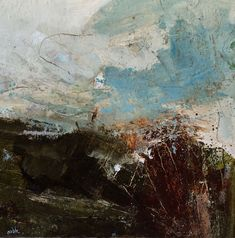 Stanshope into Milldale, 30x30cm, Oil & Mixed media on canvas, £1,150 - Sold, by Lewis Noble