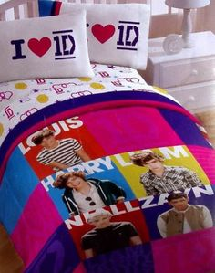 Awesome ONE DIRECTION 1 D MULTI COLOR TWIN COMFORTER SHEETS 4PC BEDDING SET NEW